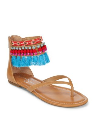 Beaded Ankle-Strap Sandals by Jessica Simpson