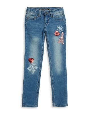 Girl's Kiss Patch Denim Jeans 500087272152