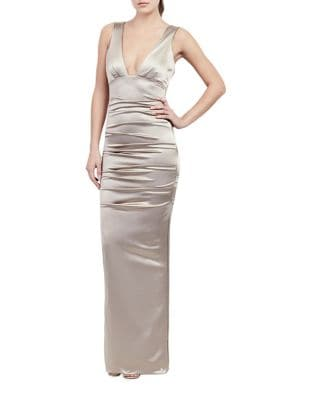 Plunging Bodycon Gown by Nicole Miller