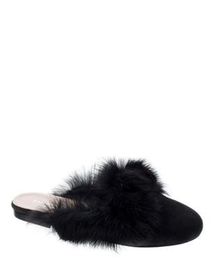 Stella Fur-Trimmed Suede Mules by Patricia Green