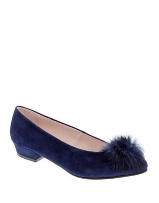 Sandy Rabbit Fur Trimmed Suede Pumps by Patricia Green