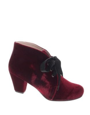 Clair Velvet Lace-Up Booties by Patricia Green