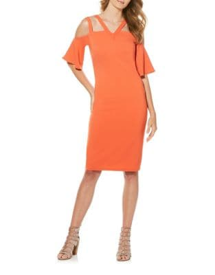 Cold-Shoulder Double-Strap Sheath Dress by Laundry by Shelli Segal