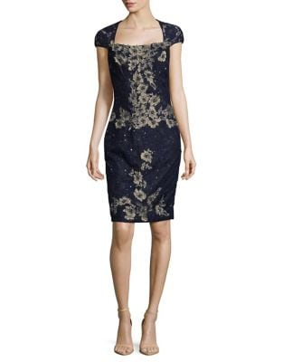 Cap-Sleeve Embroidered Floral Dress by Mandalay