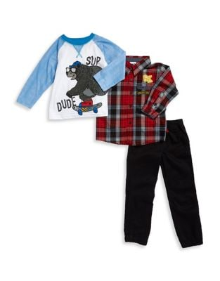 Boys Plaid Sportshirt Bear Graphic Top and Pants Set