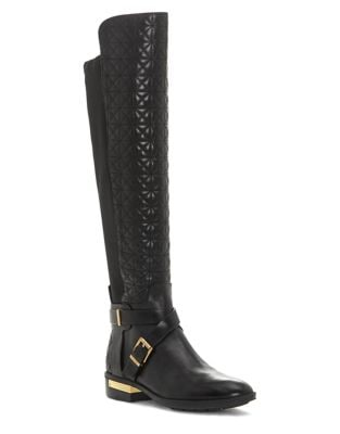 Patira Quilted Leather Knee-High Boots by Vince Camuto