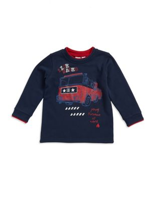 Little Boys Firetruck Print Top