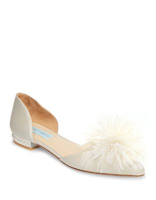Blue by Betsey Johnson D'Orsay Embellished Satin Flats by Betsey Johnson