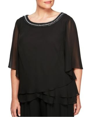 Plus Beaded Neckline Blouse by Alex Evenings