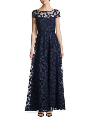 3D Floral Short Sleeve A-Line Gown by Karl Lagerfeld Paris