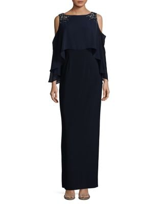 Cold Shoulder Embellished Floor-Length Gown by Vince Camuto