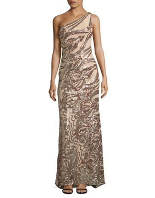 Sequin Lace One Shoulder Gown by Vince Camuto