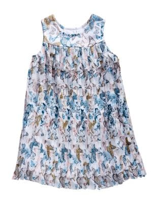 Little Girls Sleeveless Pleated Chiffon Aline Dress