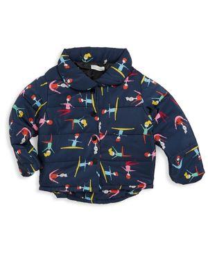 Little Girls Dancer Print Puffer Jacket