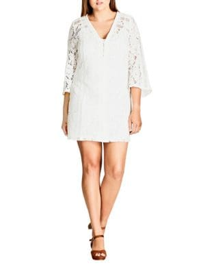 Plus Buttoned Lace Mini Dress by City Chic