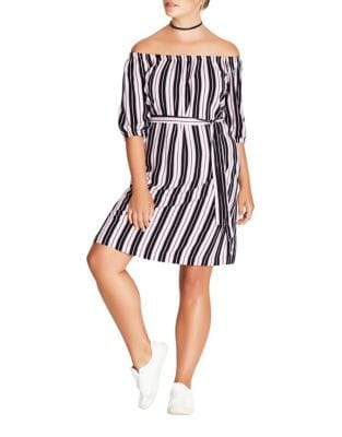 Plus Striped Dress by City Chic