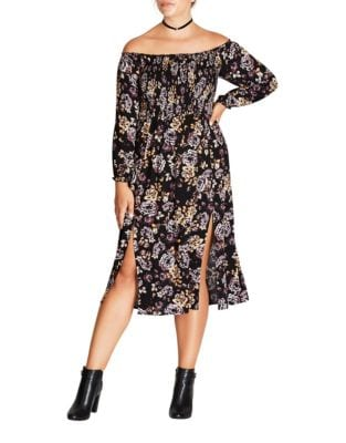 Plus Split Side Floral Midi Dress by City Chic