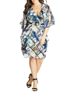 Plus Orchid Surplice Knee-Length Dress by City Chic
