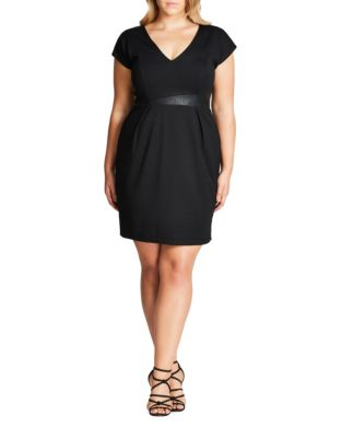Plus Pleated Mini Dress by City Chic
