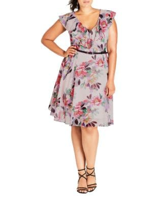 Plus Floral Belted Mini Dress by City Chic