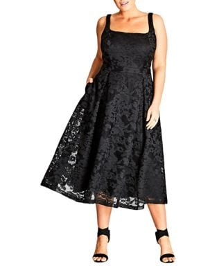 Plus Pleated Lace Midi Dress by City Chic