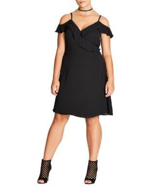 Plus Self-Tie Cold Shoulder Dress by City Chic