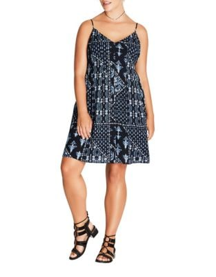 Plus Printed Mini Dress by City Chic