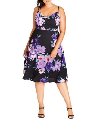Plus Printed Knee-Length Dress by City Chic