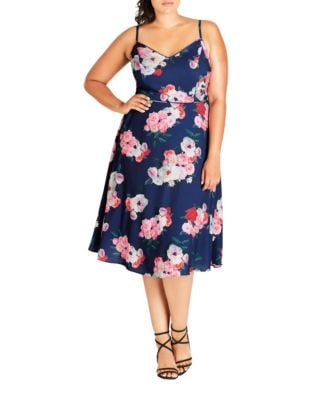 Plus Floral Sleeveless Knee-Length Dress by City Chic