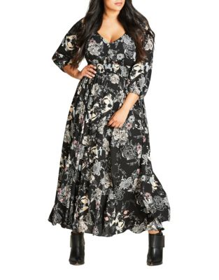 Plus Floral Maxi Dress by City Chic