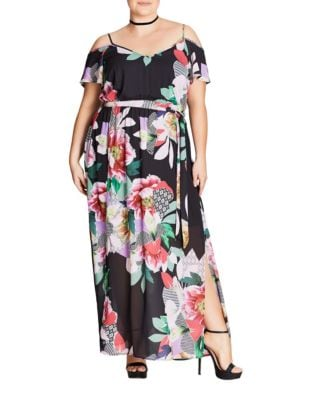 Plus Floral Floor-Length Dress by City Chic