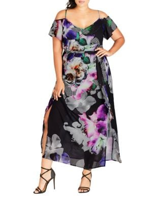 Plus Printed Cold Shoulder Dress by City Chic