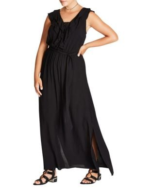 Plus Lace-Up Floor-Length Dress by City Chic