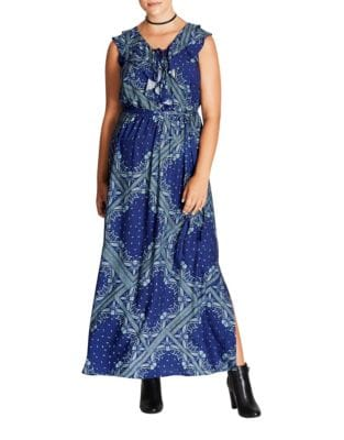 Plus Printed Floor-Length Dress by City Chic