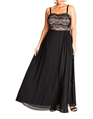 Plus Draped Bandeau Floor-Length Dress by City Chic