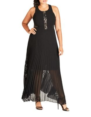 Plus Pleated Floor-Length Dress by City Chic