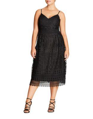 Plus Lace Sleeveless Mini Dress by City Chic