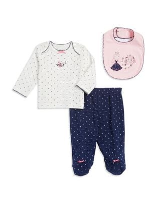 Baby Girls ThreePiece Cotton Top Bib  Footed Pants Embroidered Set