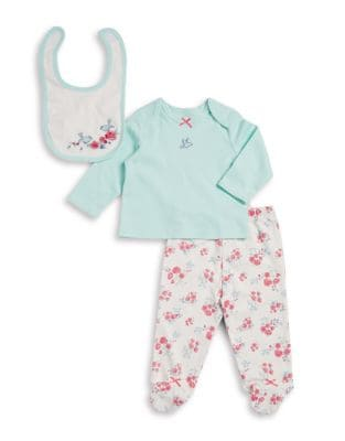 Baby Girls ThreePiece Cotton Floral Bird Top Footed Pants  Bib Set