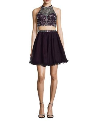 Two-Piece Embellished Top and Ruffled Skirt Set by Blondie Nites