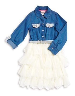 Little Girls Belted Denim Dress