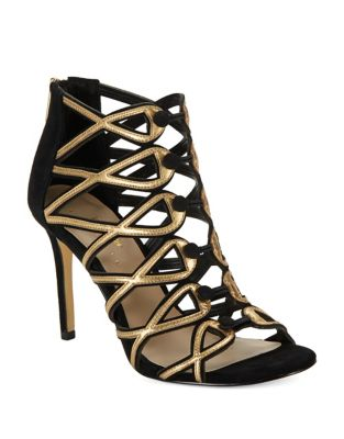Gizelle Suede Cage Heels by 424 Fifth