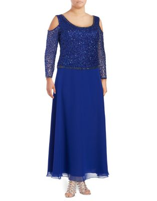 Plus Sequined Cold Shoulder Dress by J Kara
