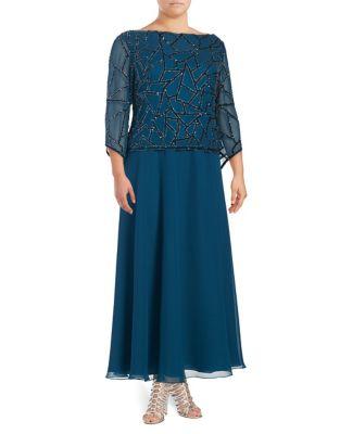 Plus Sequined Floor-Length Dress by J Kara