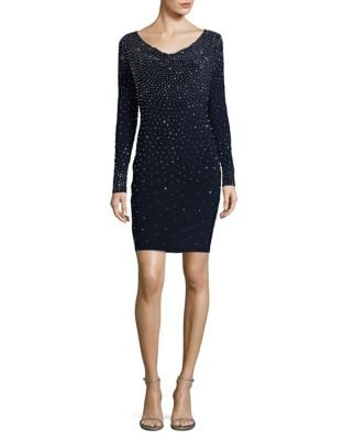Embellished V-Neck Bodycon Dress by Xscape