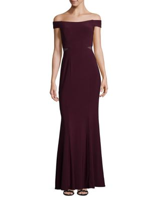 Wine Mesh Off-the-Shoulder Gown by Xscape