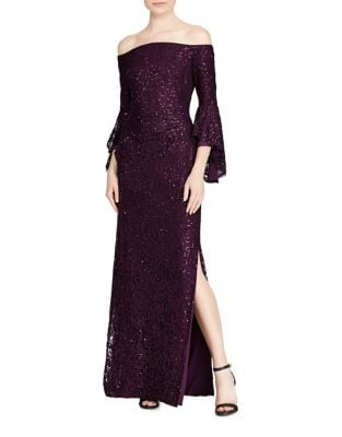 Sequined Bell Sleeve Gown by Teri Jon