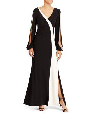 Colorblocked Jersey Floor-Length Gown by Lauren Ralph Lauren
