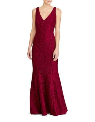 Lace V-Neck Floor-Length Gown by Lauren Ralph Lauren