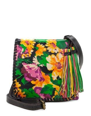 Floral Leather Crossbody...